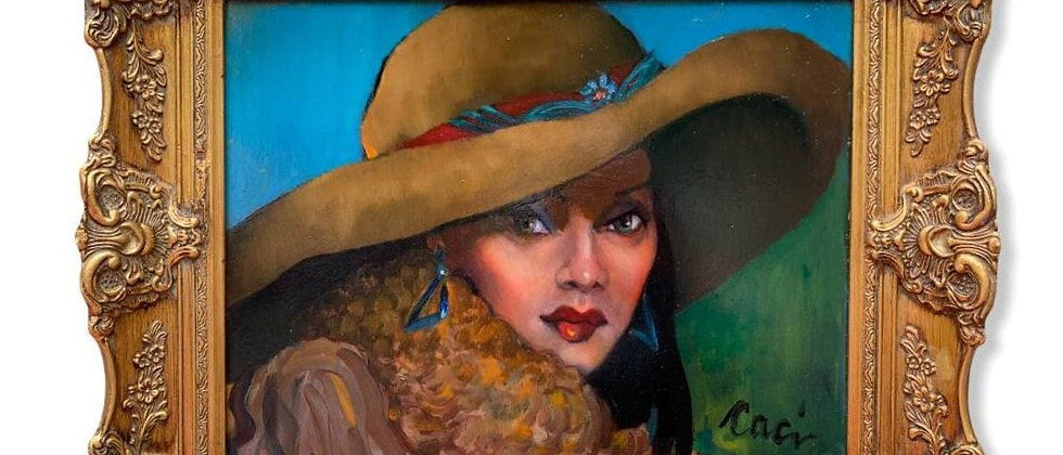 Edwina Caci Oil Painting on Canvas, Portrait of a Lady in Brown Felt Hat, Framed