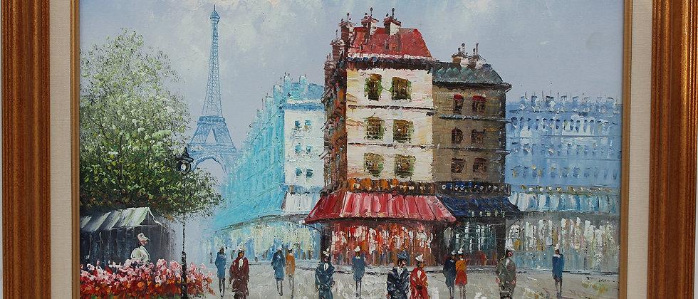 Listed Artist C.Burnett (IX-XX) oil painting on canvas Paris, The Eiffel Tower