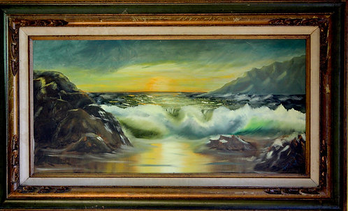 Large Original Oil Painting On Canvas Seascape  signed by Sandra Lee, dated
