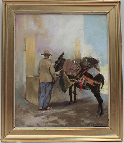 Vintage oil painting on canvas,figures, framed, signed, dated