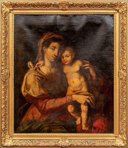 17th/18th cent original oil painting on canvas, Italian School, Virgin and child