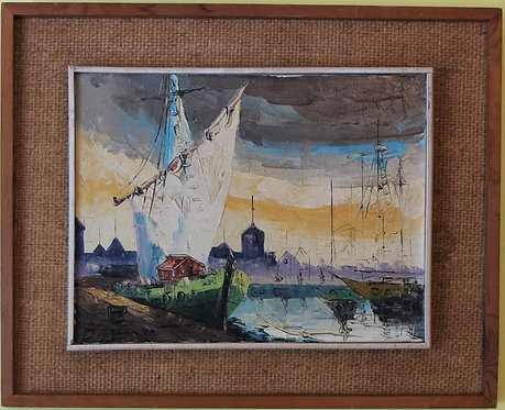 1970 Vintage Oil painting on canvas, Harbor Cityscape, Seascape, framed, Signed