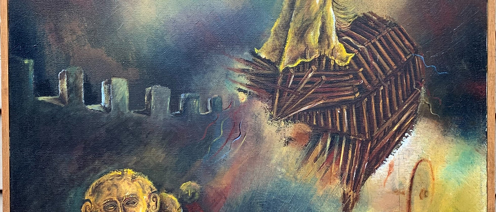 """PATRICK ESDERS (HUNGARIAN) Vintage Oil Painting on canvas The Trojan Horse""""1982"""