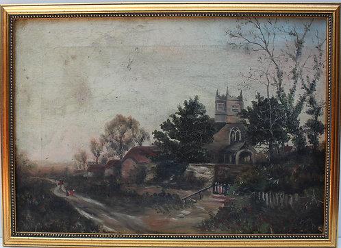 Antique 19c. Original Oil Painting on canvas, Landscape, Castle unsigned, framed