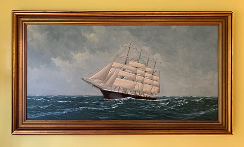 Listed Swedish Artist A.H. Nordberg Huge Oil Painting on Canvas, Sailing Ship