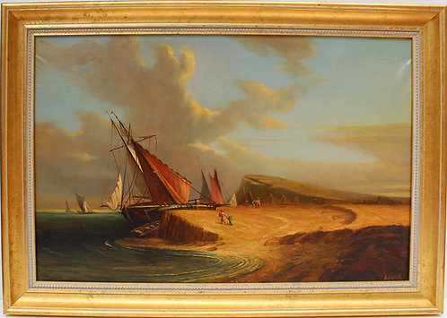 Large antique oil painting on canvas, coastal landscape, framed, signed Dumov