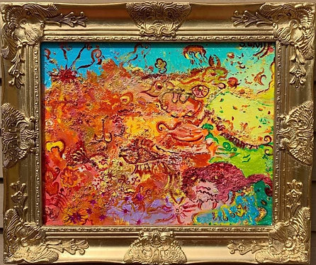 Original Textured Abstract Painting on Canvas , Signed Serg Graff, COA, framed
