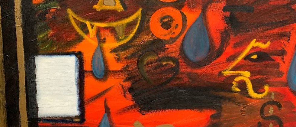 Large Vintage Original Abstract Painting on Canvas, Signed, Dated