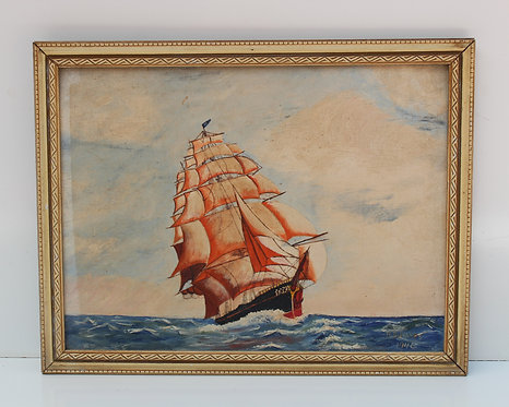 Vintage 1946 oil painting on board, seascape,Sailing ships on the Sea, H.B.Hayes