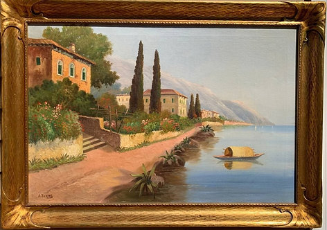 Italian Artist A.Torini Large oil painting on canvas, Harbor, seascape, Framed
