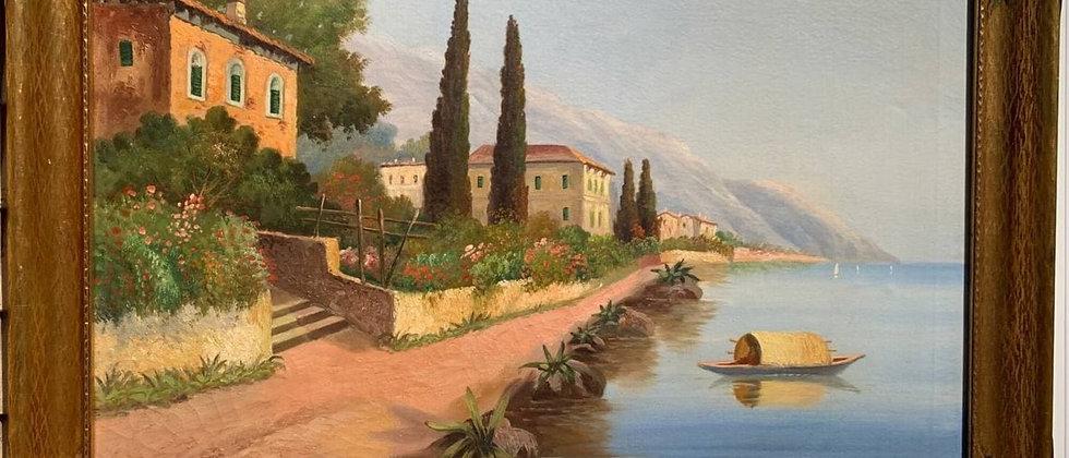 Italian Artist A.Torini Large oil painting on canvas, Harbor, seascape, Framed