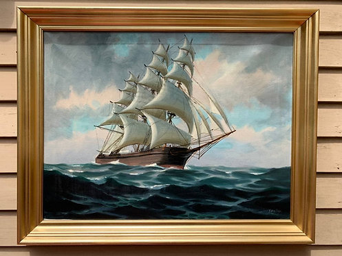 Large Antique T. BAILEY Original Large Oil Painting on canvas Ship on the Ocean