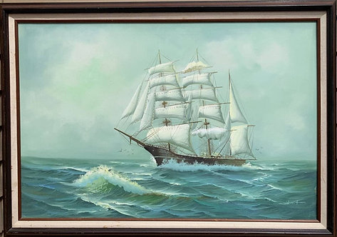 Large oil painting on canvas, Seascape, Sailing ship in the stormy ocean, signed