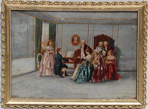 Antique 19 c. Original Oil Painting on wood, interior genre scene, Signed,Framed