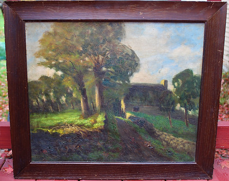Antique oil painting on canvas Listed Artist Wilmarth, Pont-Aven France,signed