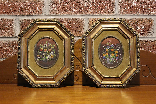Pair of Antique rare Original Oil Painting on board Still life, flowers, Signed