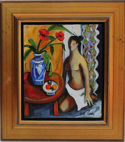 Expressionism Style Oil Painting on canvas Signed M. St.Pierre, Framed