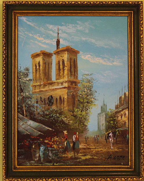 Oil painting on canvas PARIS Street Scene, Notre Dame,Signed Aaron