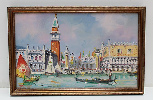 Vintage oil painting on canvas, Doge's Palace, Venice, Italy, Unsigned, framed