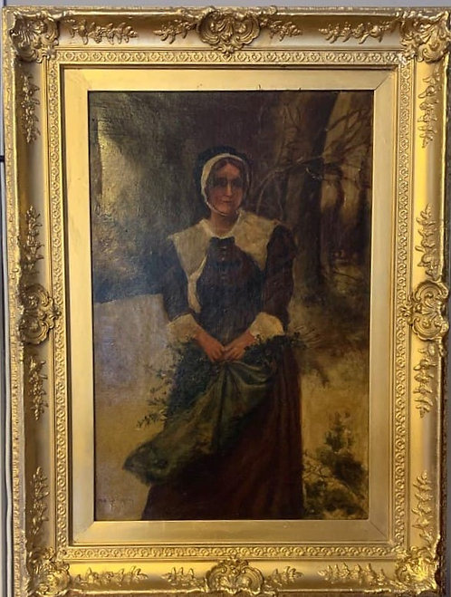 Antique 19th century Oil Painting on Canvas, Portrait of a young woman, Signed