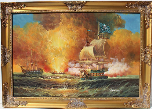 Large oil painting on canvas, seascape, Battleship at Sunset, gold frame, signed