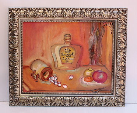 Original oil painting on canvas, Still life, signed S.Graff, Certificate