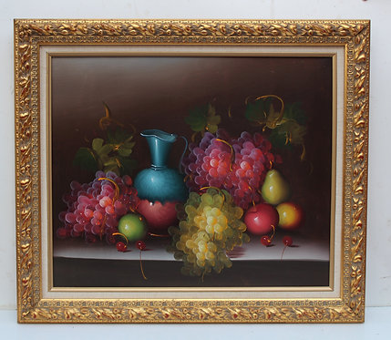 Vintage Still Life oil painting on canvas, Fruits, Framed, Unsigned