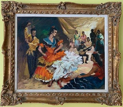 """Vintage original oil painting on canvas, """"Dancing Figures"""", Signed, Framed"""