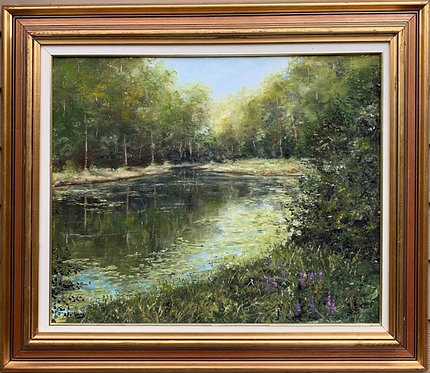European Original Oil Painting on canvas Landscape, Lake view, Signed, Framed
