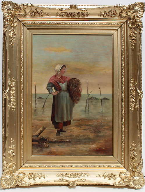 Antique Oil Painting on Canvas, Portrait of a woman, Unsigned, Framed
