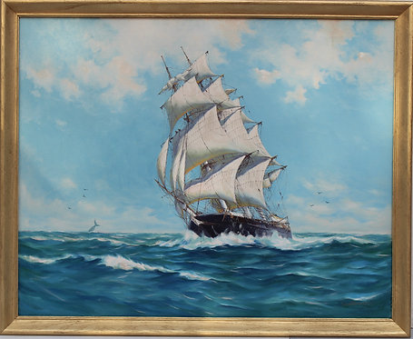 Humbero da Silva Fernandes(1937-2005) Clipper Ship Large Oil Painting on Canvas