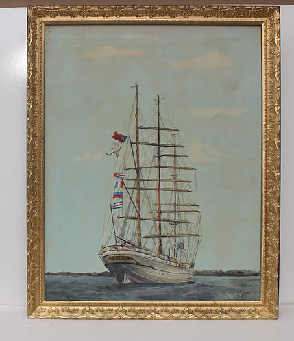 Oil painting on canvas, seascape , Tall Ship, framed, signed, dated