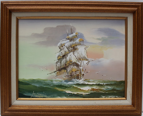 Oil painting on canvas, seascape,Sailing Ship in the High Sea, Signed , Framed