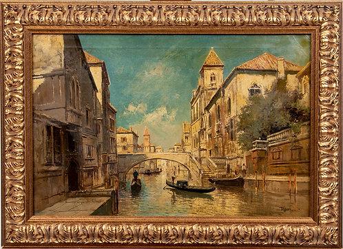 Listed Italian Artist Virgilio Ripari (1843 -1902) Antique oil painting, Venice