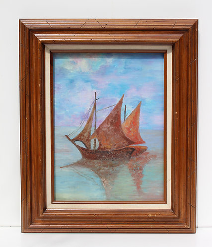 Vintage oil painting on canvas, French artist, seascape, Sailing ship on the Sea