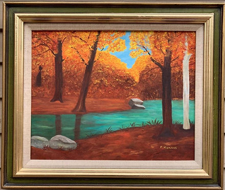 Vintage original oil painting on canvas, Landscape, Signed F.Komros , framed