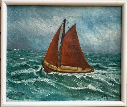 Antique Danish Oil painting on canvas, seascape, Sailing Ships, Signed, Dated
