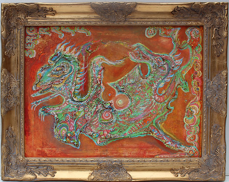 """Abstract Painting on Canvas """"Battle of Dragons"""", Signed Serg Graff, COA"""