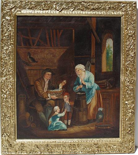 1800s Antique Original Oil Painting on canvas interior genre scene,Unsigned.