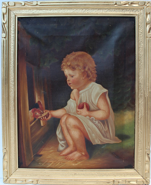 19 century Antique Original Oil Painting on canvas, unsigned, framed