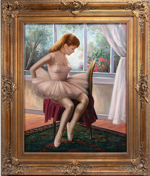 Large oil painting on canvas depicting a young ballerina, carved frame