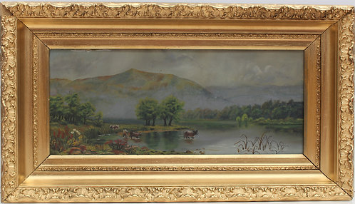 19 century Original Antique Oil Painting On board, Framed, Unsigned
