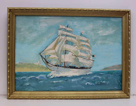 Vintage Original oil painting on board, seascape, Sailing ship, framed, signed