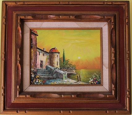 Original  oil painting on canvas, Harbor Scene Seascape, framed,Signed ROSSENO