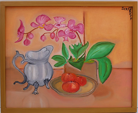 Original oil painting on canvas, Still life, Orchids, signed S.Graff, COA