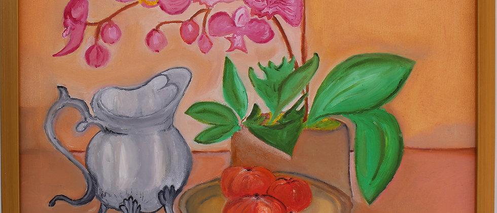 Original oil painting on canvas, Still life, Orchids, signed S.Graff, COA