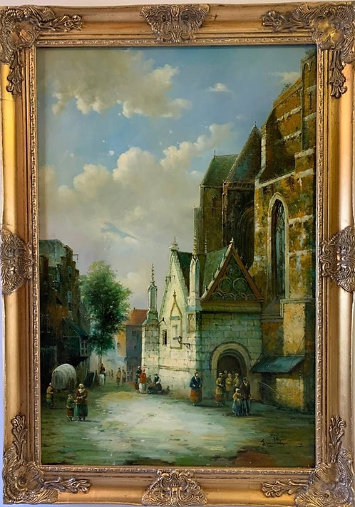 Large oil painting on canvas, Dutch village scene, Signed Franklin, Gild frame