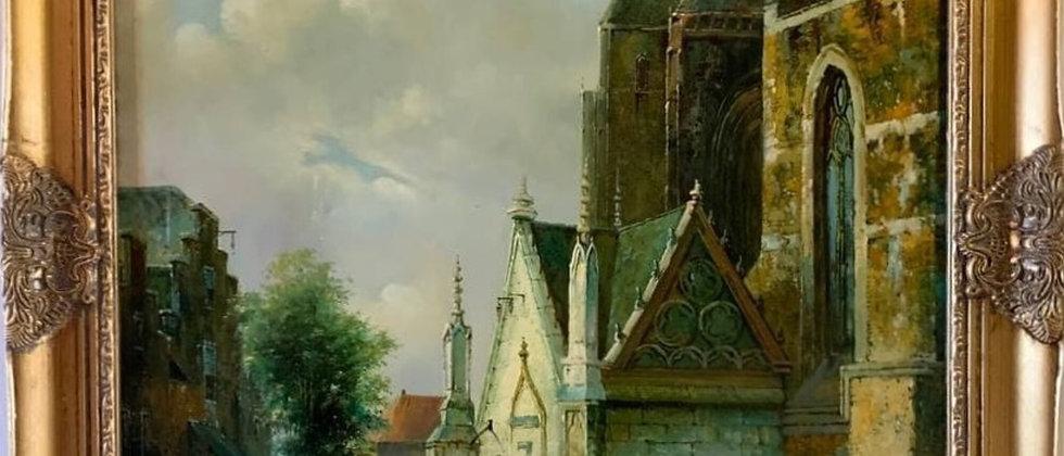 Large oil painting on canvas, Dutch village scene, Signed Franklin, Gild frame