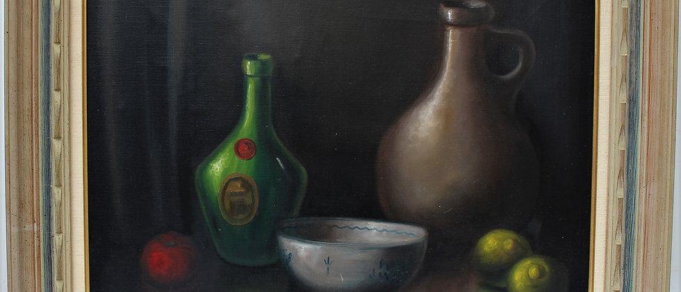 Vintage oil painting on canvas, Still life, fruit, Framed, Signed Hofer
