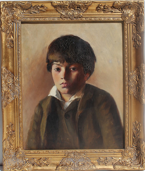 Antique 19 century American school Original Oil Painting on Canvas, Portrait